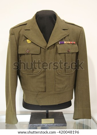 BETHPAGE, NEW YORK - APRIL 7, 2016: WWII Military uniform at the Museum of American Armor in Bethpage, NY