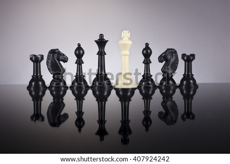 Betray concept of chess with white king and black chess - stock photo