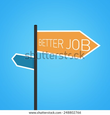 Better job nearby, orange road sign concept on blue background - stock photo