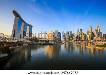 Beuatiful sunrise in the morning at Singapore Marina Bay - stock photo