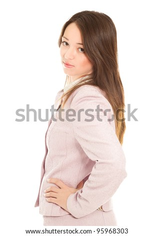 Beutiful businesswoman looking to the camera - stock photo