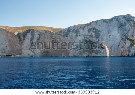 Beutiful cliff coast of Zakynthos Island seen from the sea