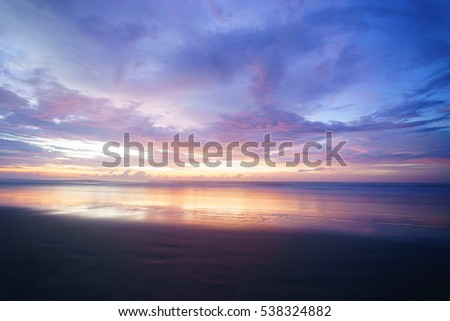 Beutiful landscape during sunset at the beach  in Sabah, Borneo, Malaysia