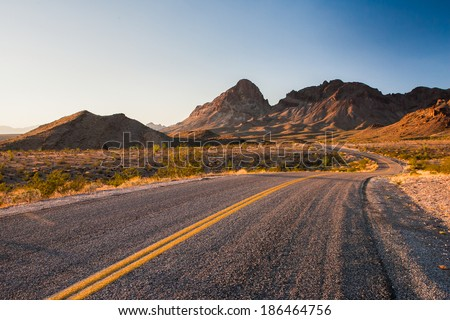 beutiful stretch of historic route 66 - stock photo