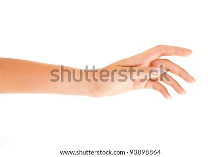 Beutiful woman's hand on the white background