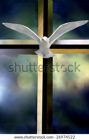 Beveled glass cross Holy Spirit bird and colorful blurred background - stock photo