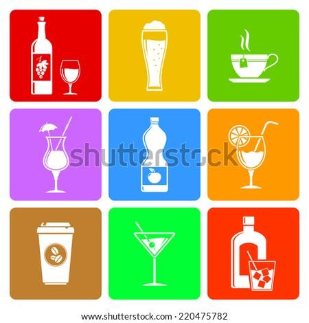 Beverage flat icons set - stock photo