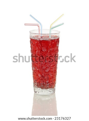 Beverage with straws on a white background