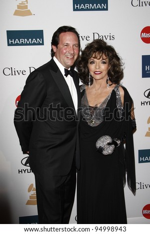 BEVERLY HILLS, CA - FEB 11: Joan Collins; husband Percy Gibson at the Clive Davis and the Recording Academy's 2012 Pre-GRAMMY Gala on February 11, 2012 in Beverly Hills, California - stock photo