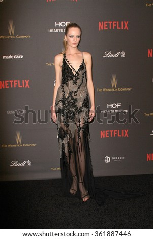 BEVERLY HILLS, CA - JAN. 10: Daria Strokous arrives at the Weinstein Company and Netflix 2016 Golden Globes After Party on Sunday, January 10, 2016 at the Beverly Hilton Hotel in Beverly Hills, CA.  - stock photo