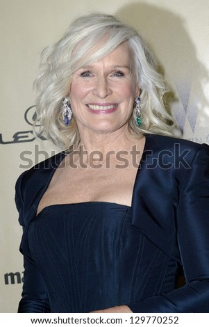 BEVERLY HILLS, CA - JAN. 13: Glenn Close arrives at the Weinstein Company's 2013 Golden Globes After Party on Sunday, January 13, 2013 at the Beverly Hilton Hotel in Beverly Hills, CA. - stock photo