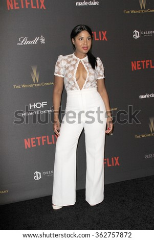 BEVERLY HILLS, CA - JAN. 10: Toni Braxton arrives at the Weinstein Company and Netflix 2016 Golden Globes After Party on Sunday, January 10, 2016 at the Beverly Hilton Hotel in Beverly Hills, CA.  - stock photo