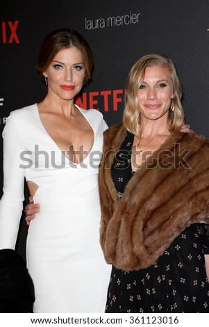 BEVERLY HILLS, CA - JAN. 10: Tricia Helfer and Katee Sachkoff arrive at the Weinstein Company & Netflix 2016 Golden Globes Party, Sunday, Jan.10, 2016 at the Beverly Hilton Hotel, Beverly Hills, CA.  - stock photo