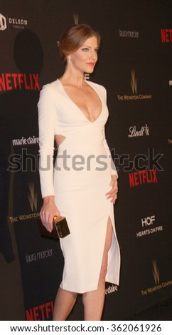 BEVERLY HILLS, CA - JAN. 10: Tricia Helfer arrives at the Weinstein Company and Netflix 2016 Golden Globes After Party on Sunday, January 10, 2016 at the Beverly Hilton Hotel in Beverly Hills, CA.  - stock photo