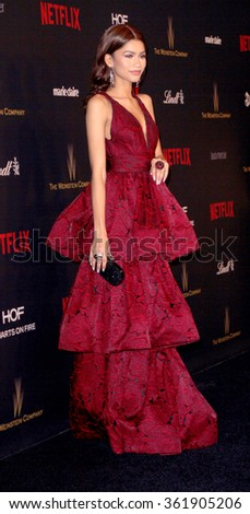 BEVERLY HILLS, CA - JAN. 10: Zendaya  arrives at the Weinstein Company and Netflix 2016 Golden Globes After Party on Sunday, January 10, 2016 at the Beverly Hilton Hotel in Beverly Hills, CA.  - stock photo