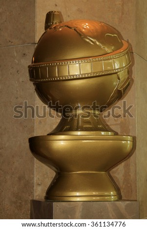 BEVERLY HILLS, CA - JANUARY 10: Large Golden Globes Awards trophy at the 73rd Annual Golden Globe Awards at the Beverly Hilton Hotel on January 10, 2016 in Beverly Hills, California - stock photo