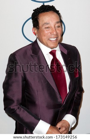 BEVERLY HILLS, CA. - JANUARY 25: Smokey Robinson arrives at the Clive Davis and The Recording Academy annual Pre-GRAMMY Gala on January 25th 2014 at the Beverly Hilton in Beverly Hills, California. - stock photo