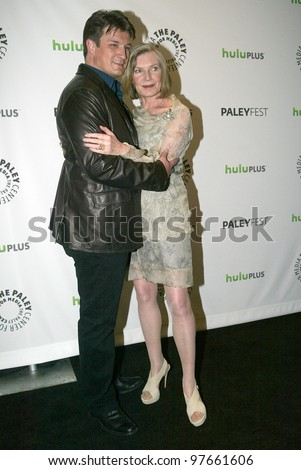 "BEVERLY HILLS, CA - MARCH 9: Nathan Fillion and Susan Sullivan arrives at the 2012 Paleyfest ""Castle"" panel on March 9, 2012 at the Saban Theater in Beverly Hills, CA."