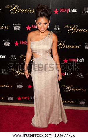 BEVERLY HILLS, CA - MAY 21: Francia Raisar arrives at the Gracie Awards Gala on May 21, 2012 at the Beverly Hilton Hotel in Beverly Hills, California.