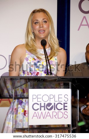 BEVERLY HILLS, CA - NOVEMBER 15, 2012: Kaley Cuoco at the People's Choice Awards 2013 Nominations held at the Paley Center in Beverly Hills, USA on November 15, 2012. - stock photo