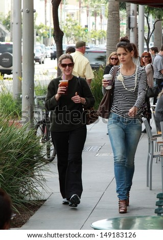 BEVERLY HILLS, CA - OCTOBER 10, 2010: Actress Katie Holmes spotted coming out of Coffee Bean on October 10, 2010 in Beverly Hills, Ca. - stock photo