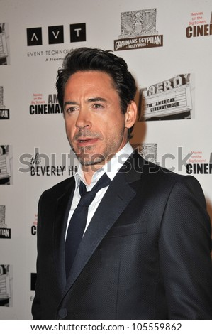 BEVERLY HILLS, CA - OCTOBER 14, 2011: Robert Downey Jr. at the 2011 American Cinematheque Gala where he was honored with the 25th Annual American Cinematheque Award at the Beverly Hilton Hotel on Oct. 14, 2011 in Beverly Hills, CA.