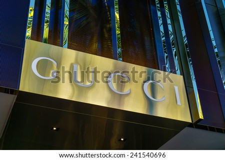 BEVERLY HILLS, CA/USA - JANUARY 3, 2015: Gucci retail store exterior. Gucci is an Italian fashion and leather goods brand with retail stores throughout the world. - stock photo