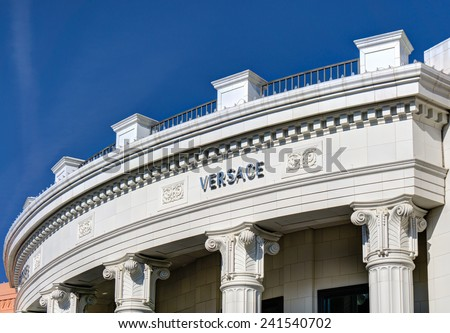 BEVERLY HILLS, CA/USA - JANUARY 3, 2015: Versace retail store exterior. Gianni Versace is an Italian fashion company and trade name founded by Gianni Versace in 1978. - stock photo