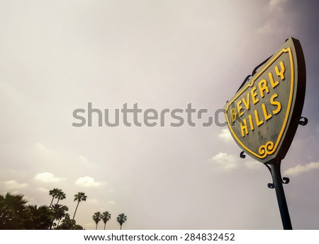 Beverly Hills,CA,USA June 2nd, 2015 The iconic street sign of Beverly Hills in Los Angeles, - stock photo