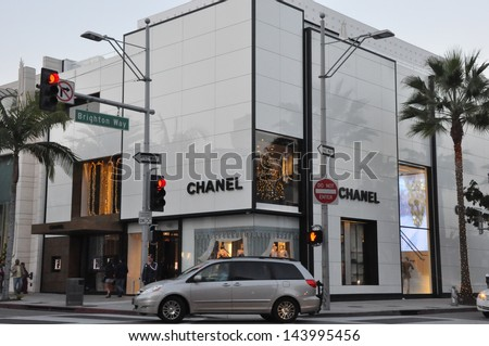 BEVERLY HILLS, CALIFORNIA - DECEMBER 7: Chanel store at Rodeo Drive as seen on December 7, 2012 in Beverly Hills, California. There are more than 100 world-renowned boutiques in this area. - stock photo