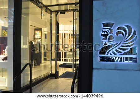 BEVERLY HILLS, CALIFORNIA - DECEMBER 7: Frey Wille store at Rodeo Drive as seen on December 7, 2012 in Beverly Hills, California. There are more than 100 world-renowned boutiques in this area. - stock photo