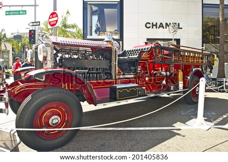 BEVERLY HILLS, CALIFORNIA - JUNE 15, 2014: 1928 Ahrens-Fox GN-80-4 owned by Beverly Hills Fire Department at the Rodeo Drive Concours D'Elegance on June 15, 2014 Beverly Hills, California, USA  - stock photo