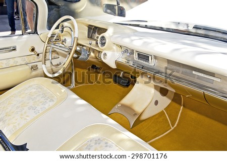 """BEVERLY HILLS, CALIFORNIA - JUNE 21, 2015: 1959 Cadillac Coupe De Ville (interior) """"Elvis III"""" on display at the Rodeo Drive Concours D' Elegance on June 21, 2015 Beverly Hills, California, USA - stock photo"""