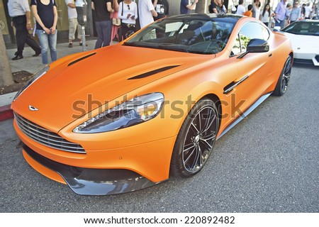 BEVERLY HILLS/CALIFORNIA - JUNE 16, 2013: Late model Aston Martin Vanquish on display at the Concours D'Elegance June 16, 2013 Beverly Hills, California USA  - stock photo