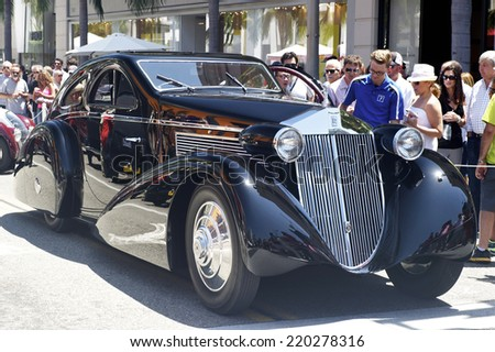 BEVERLY HILLS, CALIFORNIA - JUNE 16, 2013: 1925 Phantom I Aerodynamic Coupe Rolls Royce on display at the Rodeo Drive Concours D'Elegance on June 16, 2013 Beverly Hills, California, USA  - stock photo