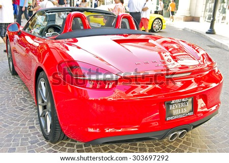 BEVERLY HILLS, CALIFORNIA - JUNE 21, 2015: 2015 Porsche Boxter on display at the Rodeo Drive Concours D'Elegance on June 21, 2015 Beverly Hills, Calif