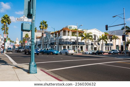 BEVERLY HILLS, CALIFORNIA - NOV 10 2014: Rodeo Drive in Beverly Hills, California. Just south of Santa Monica Blvd. - stock photo