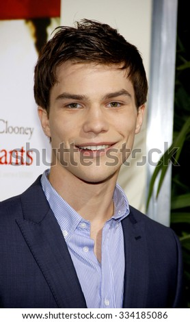 """BEVERLY HILLS, CALIFORNIA - November 15, 2011. Nick Krause at the Los Angeles Premiere of """"The Descendants"""" held at the AMPAS Samuel Goldwyn Theater, Los Angeles.   - stock photo"""