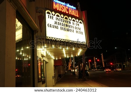 BEVERLY HILLS - DEC 25: Controversial movie 'The Interview' opens at the Music Hall Laemmle Theaters on December 25, 2014 in Beverly Hills, California - stock photo