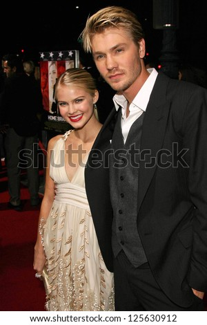 "BEVERLY HILLS - DECEMBER 05: Kenzie Dalton and Chad Michael Murray at the World Premiere of ""Home of the Brave"" on December 05, 2006 at The Academy of Motion Picture Arts and Sciences, Beverly Hills."