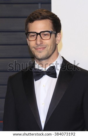 BEVERLY HILLS - FEB 28: Andy Samberg at the 2016 Vanity Fair Oscar Party on February 28, 2016 in Beverly Hills, California - stock photo
