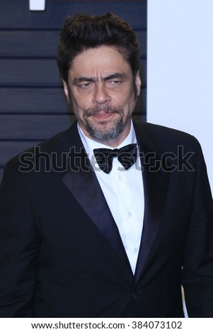BEVERLY HILLS - FEB 28: Benicio del Toro at the 2016 Vanity Fair Oscar Party on February 28, 2016 in Beverly Hills, California - stock photo