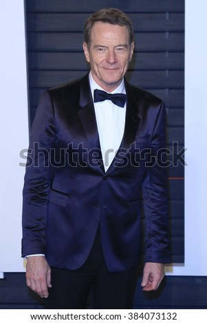 BEVERLY HILLS - FEB 28: Bryan Cranston at the 2016 Vanity Fair Oscar Party on February 28, 2016 in Beverly Hills, California - stock photo