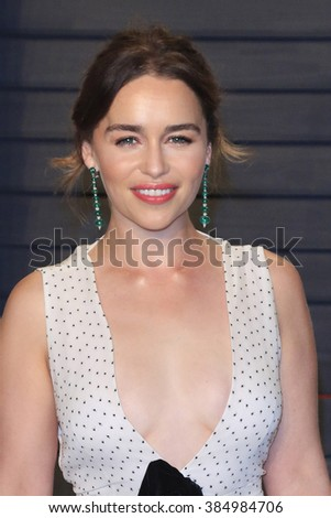 BEVERLY HILLS - FEB 28: Emilia Clarke at the 2016 Vanity Fair Oscar Party on February 28, 2016 in Beverly Hills, California - stock photo
