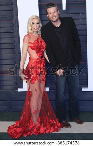 BEVERLY HILLS - FEB 28: Gwen Stefani, Blake Shelton at the 2016 Vanity Fair Oscar Party on February 28, 2016 in Beverly Hills, California - stock photo