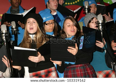 Beverly Hills High School Choir at the 2009 UNICEF Snowflake Lighting Ceremony In Beverly Hills, Rodeo Drive & Wilshire Boulevard, Beverly Hills, CA. 11-21-09 - stock photo