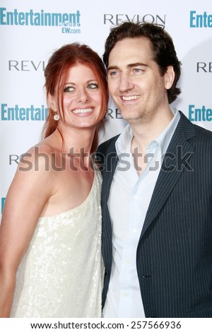 BEVERLY HILLS - SEP 20: Debra Messing and husband at the 6th Annual Entertainment Weekly Pre-EMMY party  on September 20, 2008 in Beverly Hills, California - stock photo