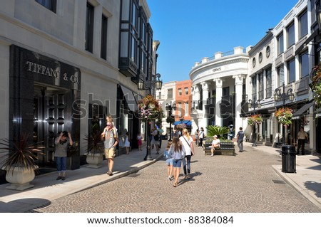 BEVERLY HILLS, US -  OCTOBER 16: Two Rodeo in Rodeo Drive on October 16, 2011 in Beverly Hills, US. There are more than 100 world-renowned boutiques in this area - stock photo