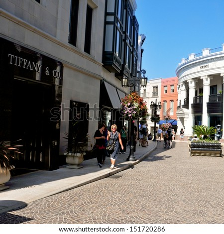 BEVERLY HILLS, US -  OCTOBER 16: Via Rodeo in Rodeo Drive on October 16, 2011 in Beverly Hills, US. There are more than 100 world-renowned boutiques in this four block shopping area - stock photo