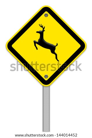 Deer Crossing Sign Stock Photos, Images, & Pictures ...